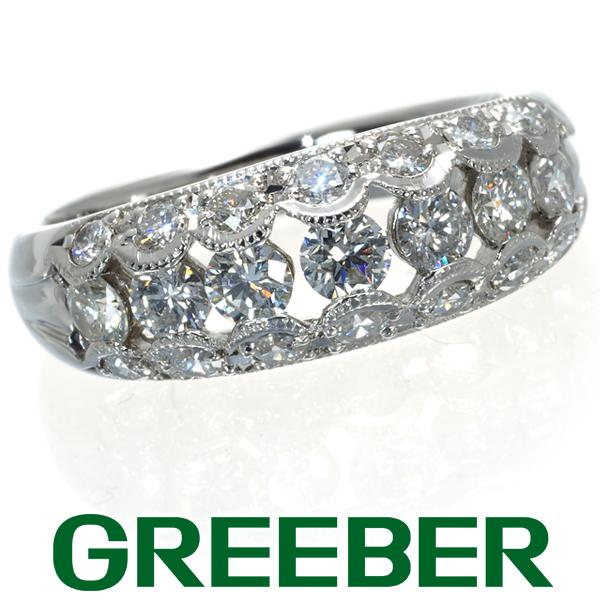 ダイヤ ダイヤモンド 1.04ct ミルグレイン 透かし リング 指輪 Pt900/プラチナ【中古】GENJ