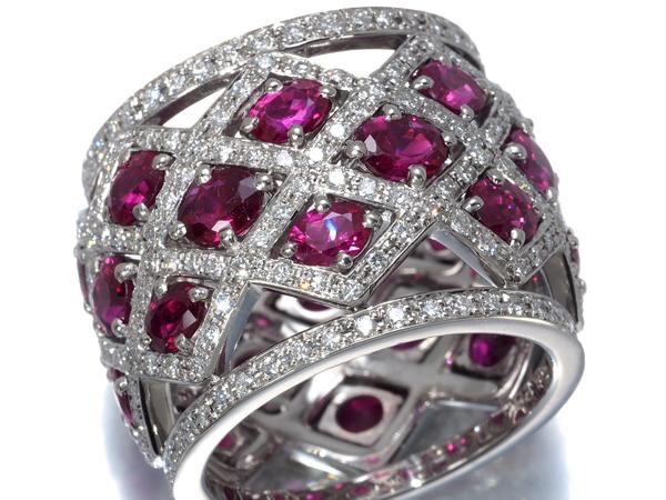 【超大幅値下げ品!】ルビー 6.20ct ダイヤ ダイヤモンド 1.55ct フルエタニティデザイン リング K18WG ソーティング【中古】GENJ