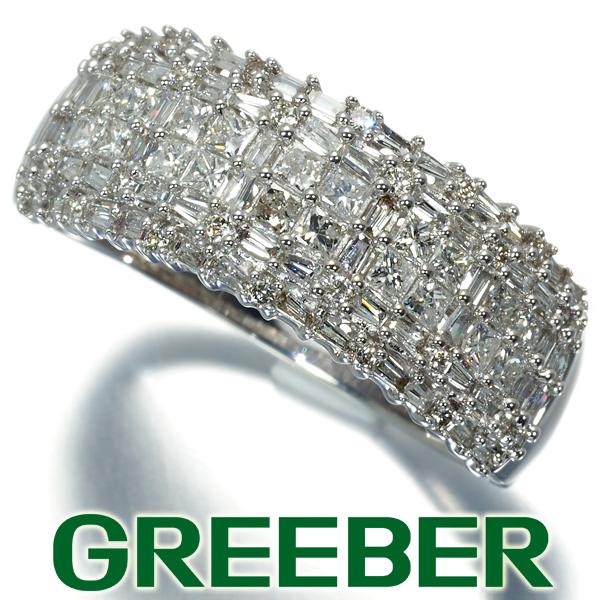 ダイヤ ダイヤモンド 1.00ct 3種カット パヴェ リング 指輪 K18WG【中古】GENJ