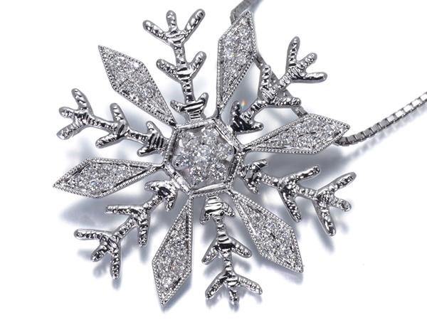雪の結晶 ダイヤ 0.18ct ネックレス K18WG【中古】GENJ