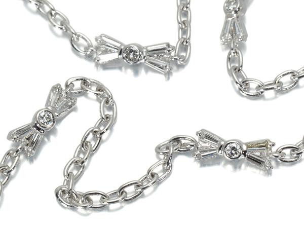 リボン ダイヤ ダイヤモンド ステーションデザイン ネックレス K18WG【中古】GENJ