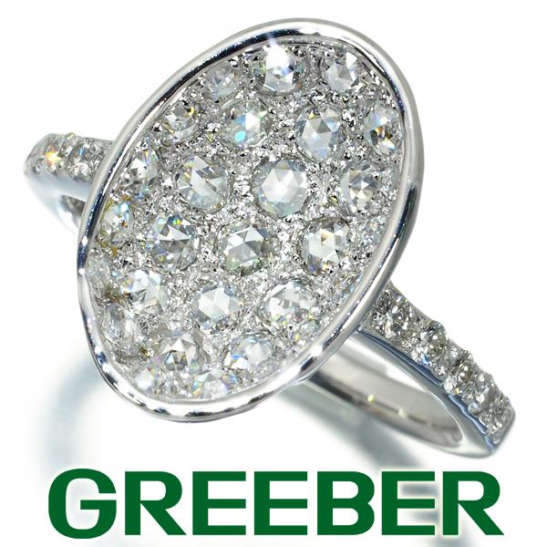 ダイヤ ダイヤモンド 0.77ct ローズカット オーバルデザイン リング 指輪 K18WG【中古】GENJ
