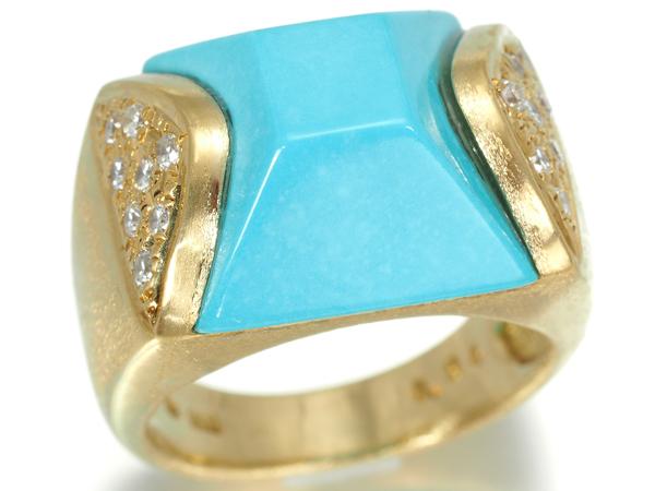 ターコイズ トルコ石 ダイヤ ダイヤモンド 0.24ct リング K18YG ソーティングメモ【中古】GENJ