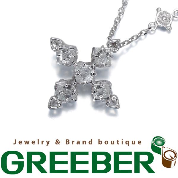 原石ダイヤ ダイヤモンド 0.30ct クロス ネックレス K18WG【中古】GENJ