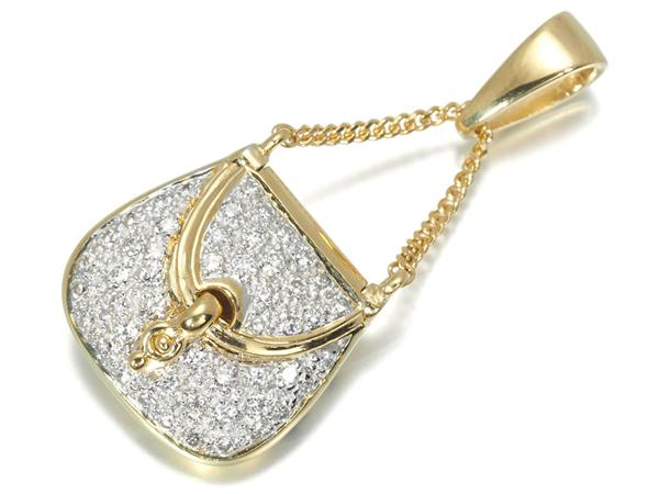バッグ 鞄 ダイヤ ダイヤモンド 0.32ct ペンダントトップ K18YG/WG【中古】GENJ