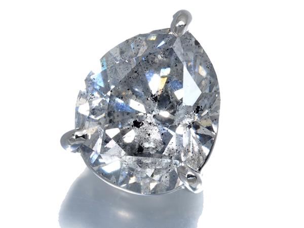 超大粒 ペアシェイプ ダイヤ ダイヤモンド 3.019ct H I2 ピアス Pt900/プラチナ 片方 ソーティング【中古】GENJ