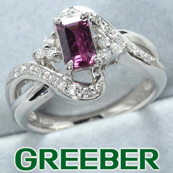 ロードライトガーネット 0.86ct ダイヤ ダイヤモンド 0.22ct リング 指輪 Pt900/プラチナ【中古】GENJ
