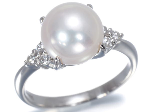 アコヤ真珠 パール 7.7mm珠 ダイヤ ダイヤモンド 0.13ct リング Pt900/プラチナ【中古】GENJ