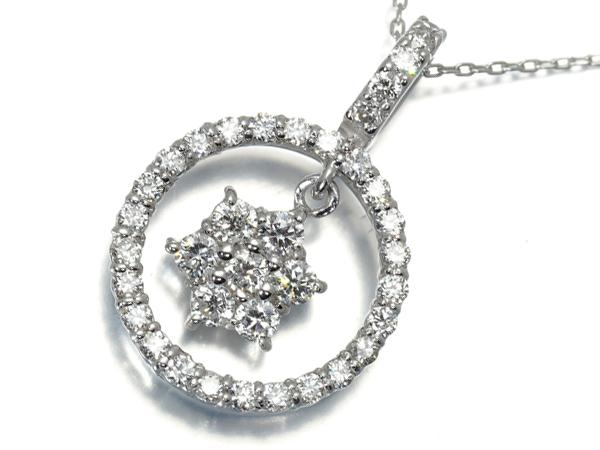 ダイヤ ダイヤモンド 0.50ct ネックレス K18WG【中古】GENJ