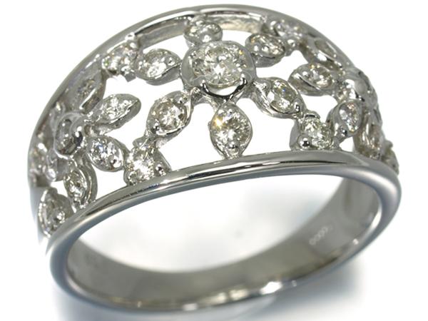 ダイヤ ダイヤモンド 0.52ct 透かしデザイン リング Pt900/プラチナ【中古】GENJ