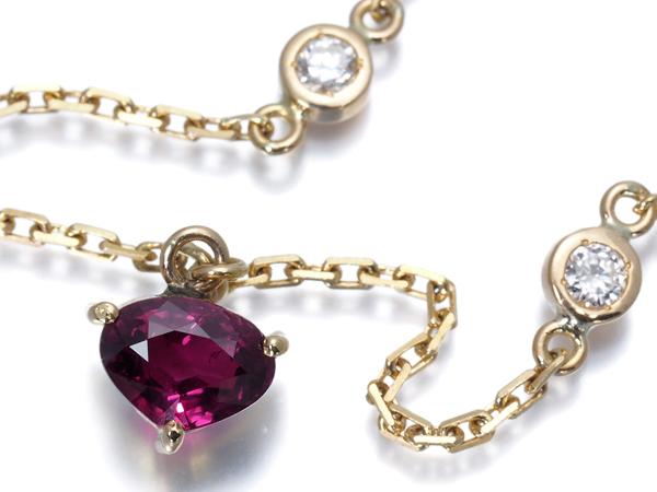 【超大幅値下げ品!】ルビー ダイヤ ダイヤモンド 0.27ct ネックレス K18YG【中古】GENJ