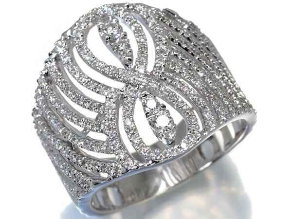 ダイヤ ダイヤモンド 0.90ct 透かしデザイン リング 指輪 K18WG【中古】GENJ