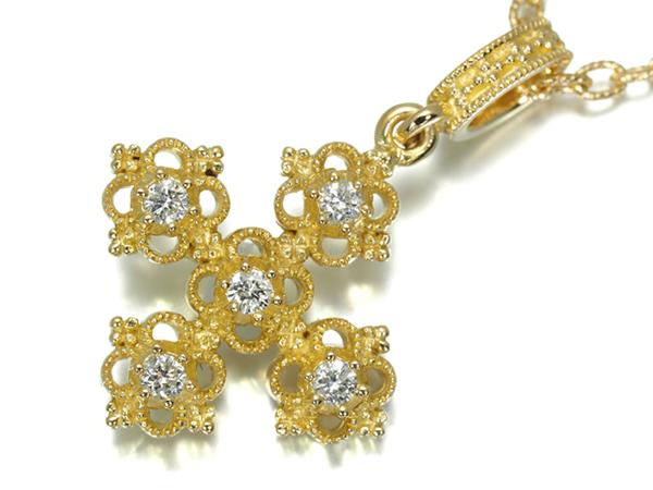 アーカー ネックレス ダイヤ ダイヤモンド 0.20ct クロス K18YG【中古】BLJ