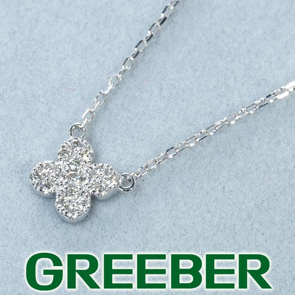 アーカー ネックレス ダイヤ ダイヤモンド 0.07ct ペタルパヴェ K18WG【中古】BLJ