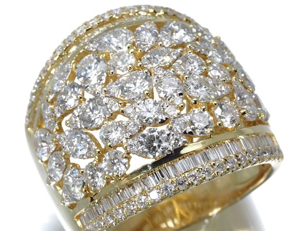 【超大幅値下げ品!】ダイヤ ダイヤモンド 3.85ct リング K18YG【中古】GENJ