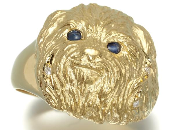 【超大幅値下げ品!】サファイア ダイヤ ダイヤモンド 犬 イヌ リング K18YG【中古】GENJ