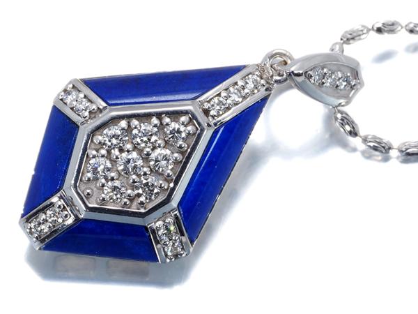 山崎裕美子 ネックレス ダイヤ ダイヤモンド 0.30ct ラピスラズリ K18WG【中古】BLJ