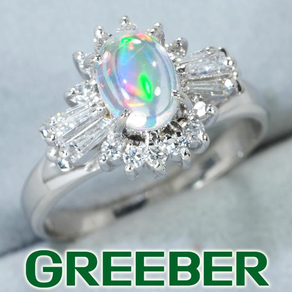 オパール 0.53ct ダイヤ ダイヤモンド 0.29ct リング 指輪 Pt900/プラチナ【中古】GENJ