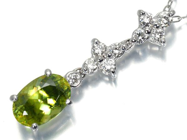 スフェーン 1.72ct ダイヤ ダイヤモンド 0.27ct ネックレス K18WG【中古】GENJ