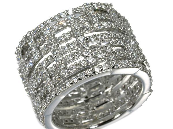 【超大幅値下げ品!】上質ダイヤ ダイヤモンド 3.63ct エタニティデザイン リング K18WG 18号【中古】GENJ