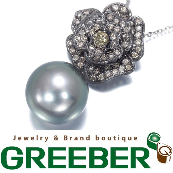 黒蝶真珠 パール 11.5mm珠 ダイヤ ダイヤモンド 0.48ct 薔薇 バラ ネックレス K18WG【中古】GENJ