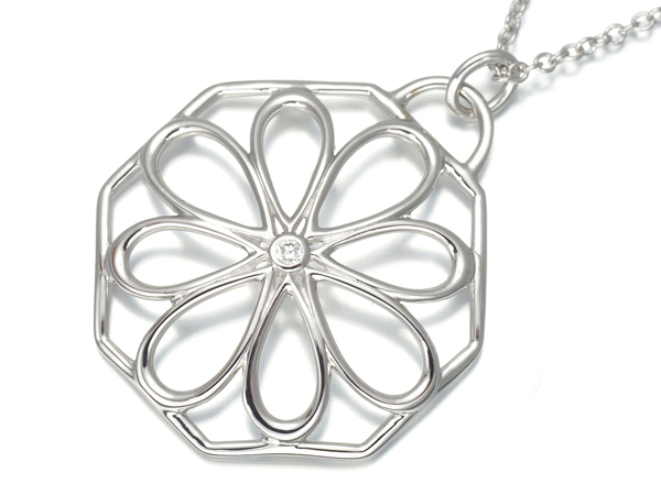 ティファニー ネックレス ダイヤ ダイヤモンド フラワー K18WG【中古】BLJ