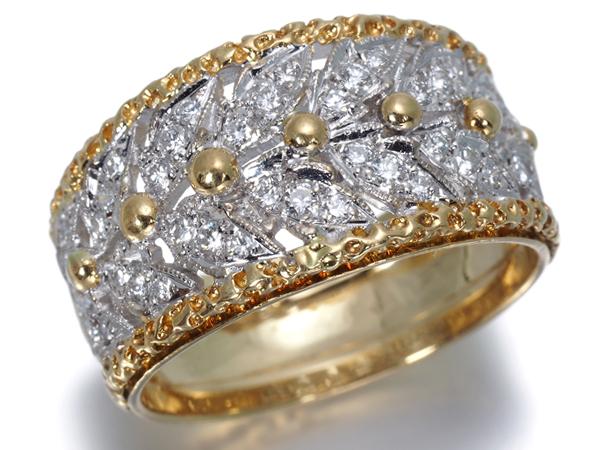 【超大幅値下げ品!】ダイヤ ダイヤモンド 彫金 デザイン リング K18YG/WG【中古】GENJ