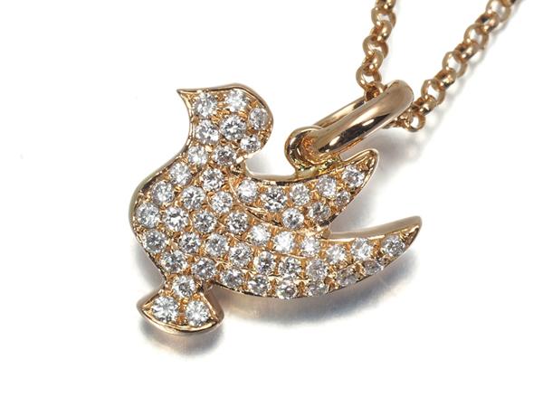 鳥 ダイヤ ダイヤモンド 0.15ct ネックレス K18PG【中古】GENJ