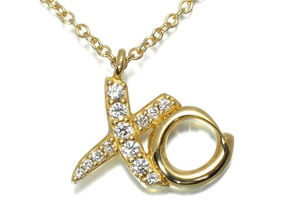 ティファニー ネックレス ダイヤ ダイヤモンド ラブ&キス K18YG【中古】BLJ