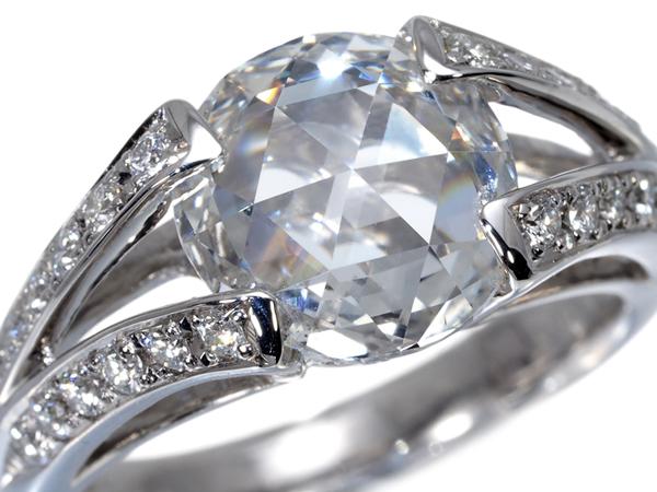 【超大幅値下げ品!】ローズカット ダイヤ ダイヤモンド 2.53ct 0.36ct リング Pt900/プラチナ【中古】GENJ