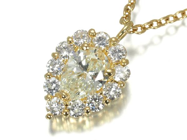 ダイヤ ダイヤモンド 0.45ct/0.33ct ネックレス K18YG【中古】GENJ