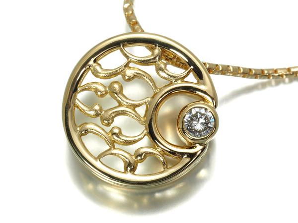 星の砂 ネックレス ダイヤ ダイヤモンド 0.17ct K18YG【中古】BLJ/GENJ