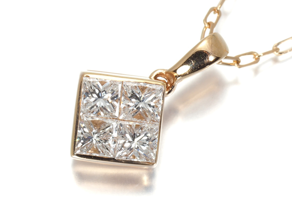 ダイヤ ダイヤモンド 0.50ct ミステリー ネックレス K18PG【中古】GENJ