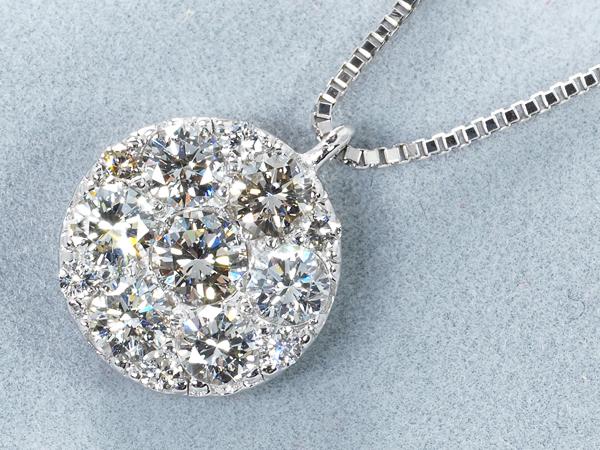 ダイヤ ダイヤモンド 0.70ct ネックレス K18WG【中古】GENJ