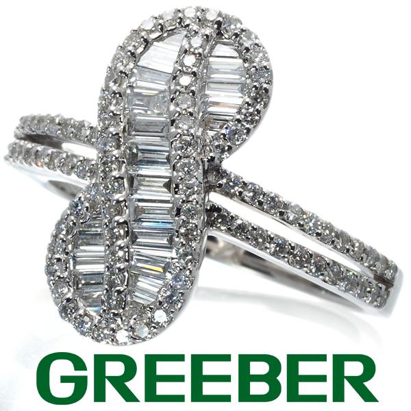 ダイヤ ダイヤモンド 0.85ct バゲットカット メビウスデザイン リング 指輪 K18WG【中古】GENJ