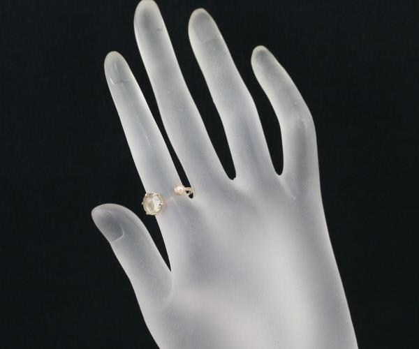 アガット リング 指輪 ルチルクォーツ 真珠 パール 11号 K10YGBLJ GENJeHIE29DWY