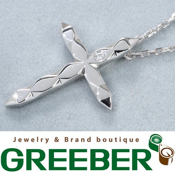 ブシュロン ネックレス ダイヤ ダイヤモンド ファセット クロス K18WG 箱/保証書【中古】BLJ