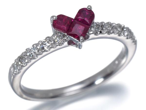 スタージュエリー リング ルビー 0.25ct ダイヤ ダイヤモンド 0.18ct ハート K18WG 6号【中古】BLJ/GENJ