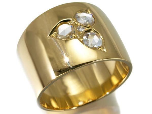 【超大幅値下げ品!】ダイヤ ダイヤモンド ローズカット リング 指輪 K18YG【中古】GENJ