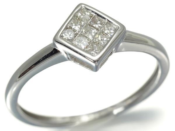 ダイヤ ダイヤモンド 0.20ct ミステリー リング K18WG【中古】GENJ