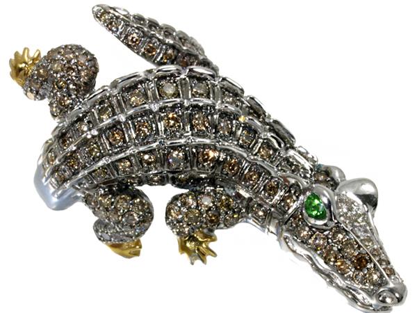 ワニ クロコダイル ダイヤ ダイヤモンド 2.10ct ガーネット 0.15ct リング 指輪 K18WG/YG【中古】GENJ
