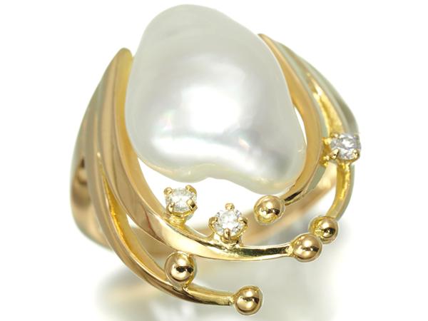 白蝶真珠 バロックパール ダイヤ ダイヤモンド リング 指輪 K18YG 鑑別書【中古】GENJ