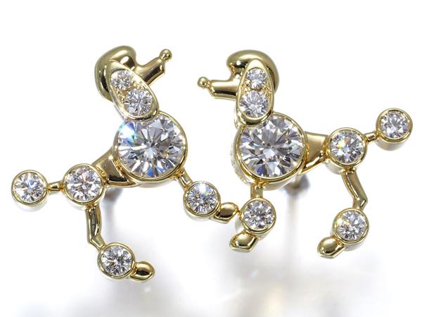 ギメル ピアス ダイヤ ダイヤモンド 0.855ct プードル K18YG【中古】BLJ