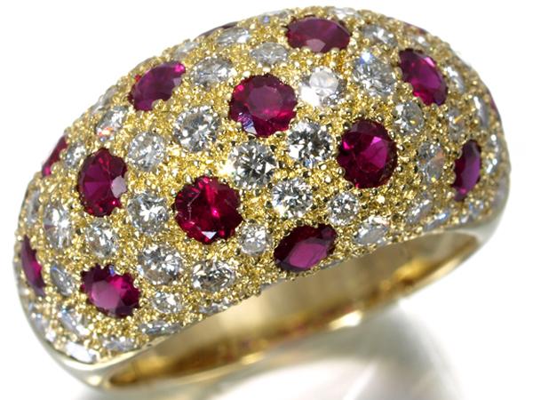 【超大幅値下げ品!】ルビー 1.47ct ダイヤ ダイヤモンド 1.77ct リング K18YG【中古】GENJ