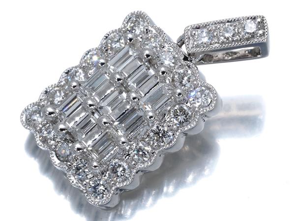 ダイヤ ダイヤモンド 0.85ct 2種カット ペンダントトップ Pt900/プラチナ【中古】GENJ