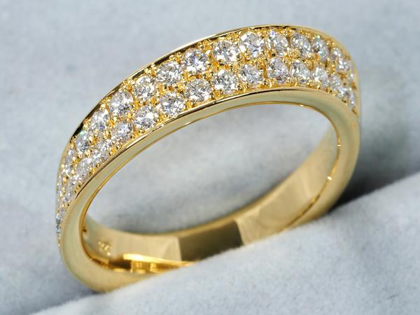 ダイヤ ダイヤモンド 0.57ct リング ハーフサークル K18YG【中古】GENJ