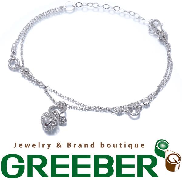 【超大幅値下げ品!】ハート ダイヤ ダイヤモンド 2連 ブレスレット K18WG【中古】GENJ