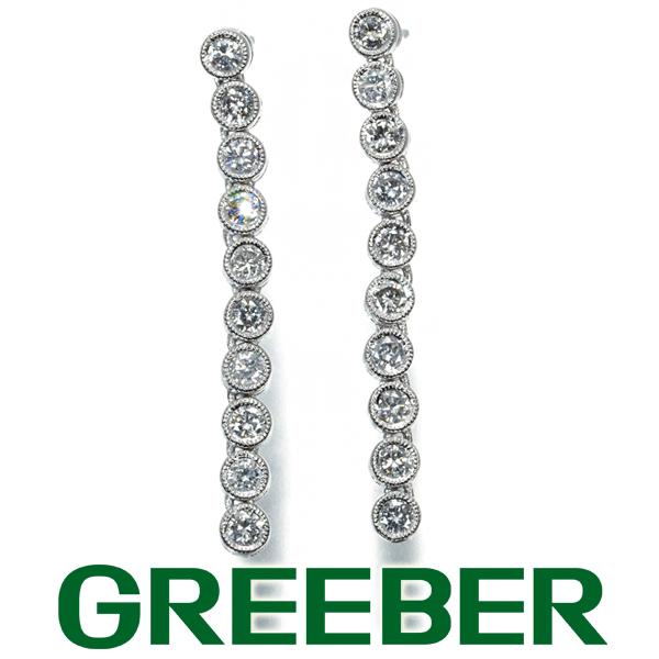 【新品】ダイヤ ダイヤモンド 0.50ct/0.50ct ベゼル 10P ミルグレイン ピアス K18WG GENJ