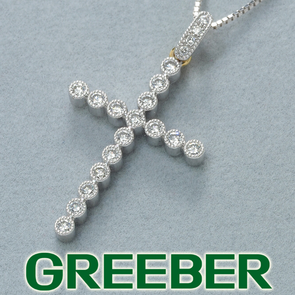 ダイヤ ダイヤモンド ミルグレイン クロス ネックレス K18WG/YG【中古】GENJ