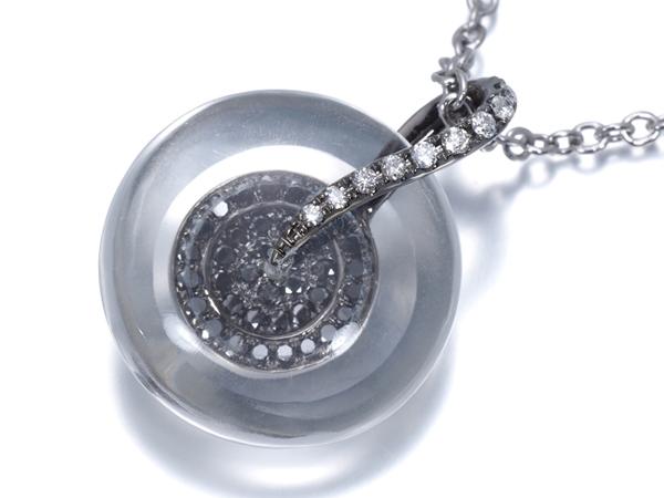 クォーツ ブラック&クリアダイヤ ダイヤモンド 0.35ct ネックレス K18WG【中古】GENJ